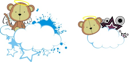 monkey angel kid cartoon copyspace Vector
