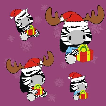 zebra baby cartoon xmas set in vector format Vector