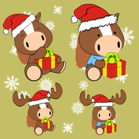 horse baby cartoon xmas set in vector format Vector