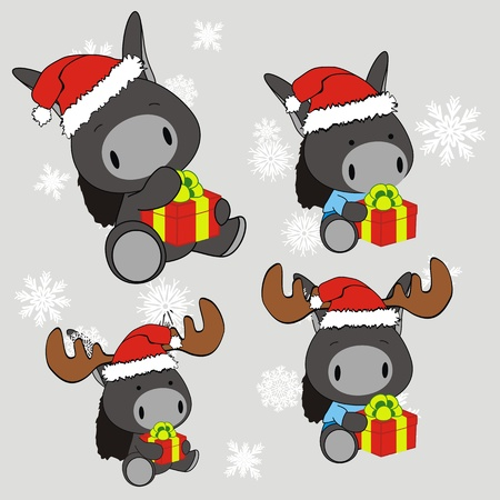 christmas gift: donkey baby cartoon xmas set in vector format
