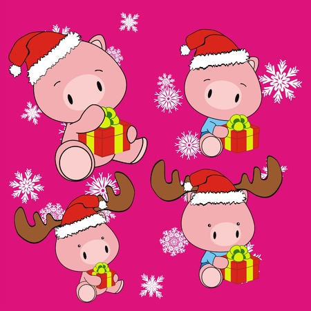 pig baby cartoon xmas set in vector format Vector