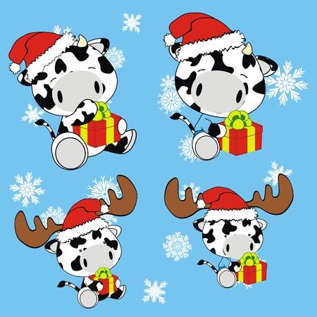 cow baby cartoon xmas set in vector format Vector