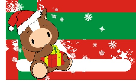 horse baby claus cartoon xmas background in vector format