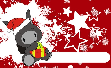 donkey baby claus cartoon xmas background in vector format Vector