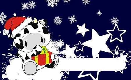 cow baby claus cartoon xmas background in vector format Vector