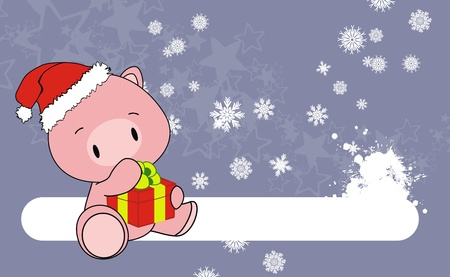 child sitting: pig baby claus cartoon xmas background in vector format