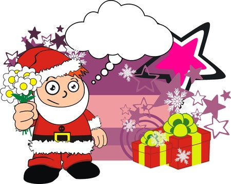 claus xmas kid cartoon sticker in vector format