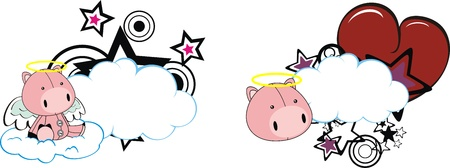pig with wings: pig kid cartoon angel in vector format Illustration