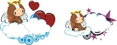 copyspace: horse kid cartoon angel in vector format