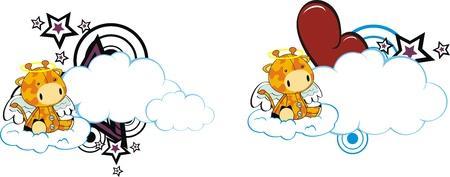 clouds: giraffe kid cartoon angel in vector format Illustration