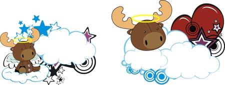 reindeer kid cartoon angel in vector format