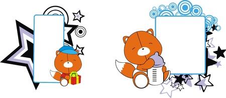 copysapce: fox baby cartoon copyspace  in vector format