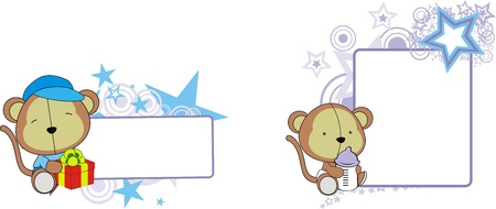 monkey baby cartoon copyspace  in vector format 矢量图像