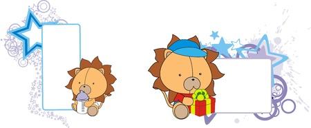 bebé león de dibujos animados copyspace en formato vectorial
