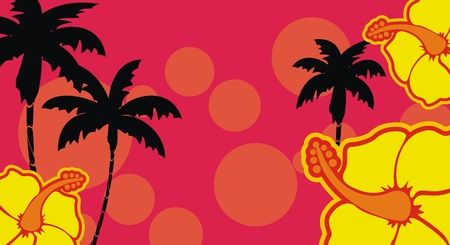 tropical hibiscus flowers background 向量圖像