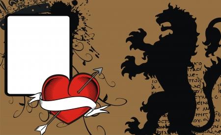 heraldic heart arrow crest background Vector