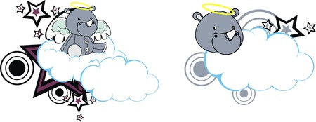 rhino angel cartoon cloud copyspace Stock Vector - 13779470