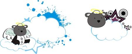 sheep angel cartoon cloud copyspace Illusztráció