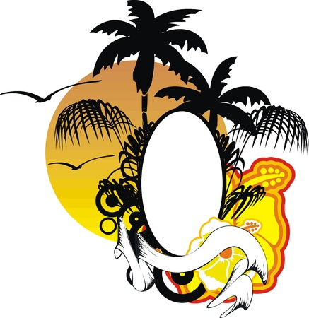 hawaiian sticker copyspace Vector