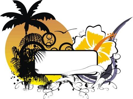 hawaiian sticker copyspace Vector