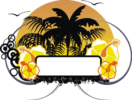 hawaiian sticker copyspace Иллюстрация