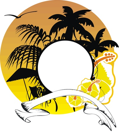 hawaiian sticker copyspace Stock Vector - 14134140