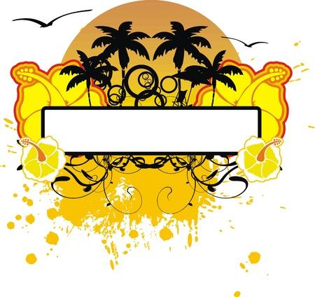 copyspace: hawaiian sticker copyspace Illustration
