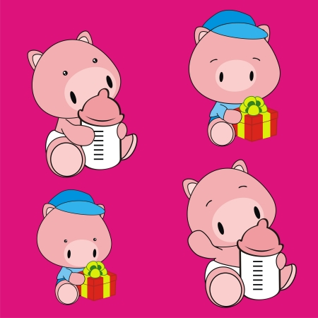 pig baby cartoon set in format very easy to edit Illustration