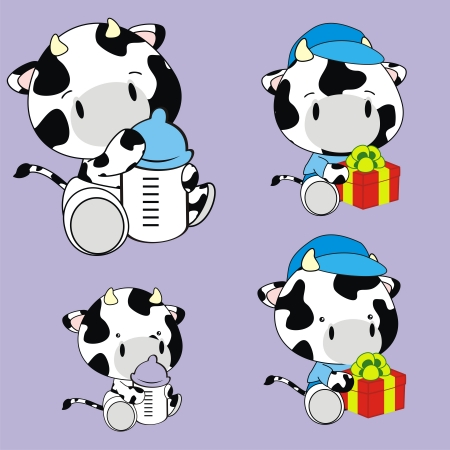 cow baby cartoon set in format very easy to edit Illustration