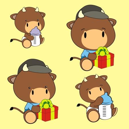 bull baby cartoon set in format very easy to edit Vector