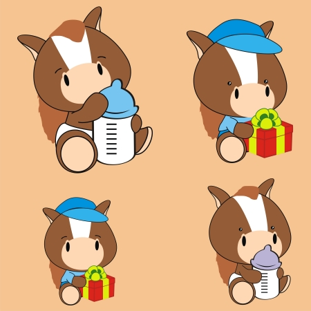 horse baby cartoon set in format very easy to edit Vector