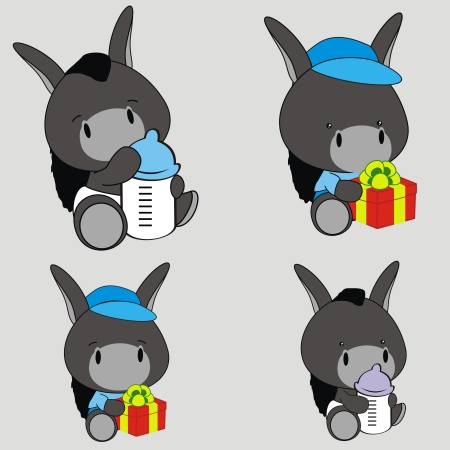 donkey baby cartoon set in format very easy to edit Vector