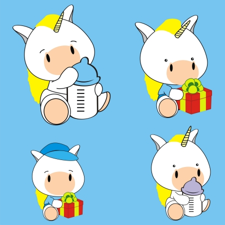 unicorn baby cartoon set in format very easy to edit Vector