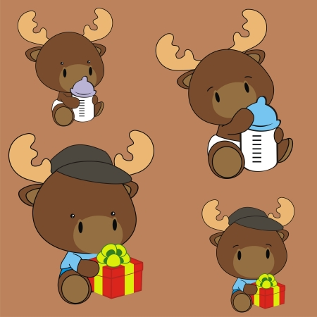 with sets of elements: reindeer baby cartoon set in format very easy to edit