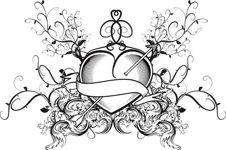 heraldic heart tattoo Stock Vector - 14842247