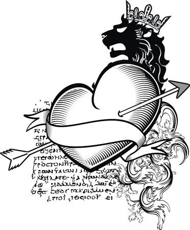 heraldic heart tattoo Stock Vector - 14842246
