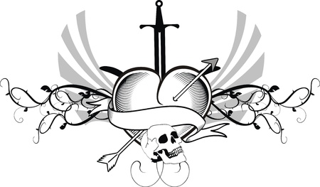 heraldic heart tattoo Stock Vector - 14842241