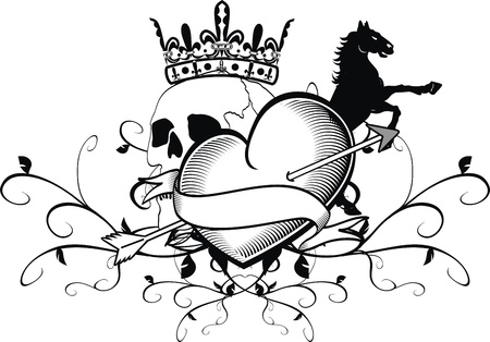 heart with crown: heraldic heart tattoo