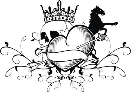 heart with crown: heraldic heart tattoo