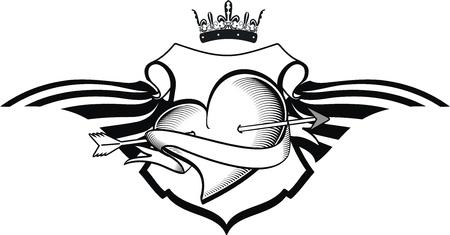 heraldic heart tattoo Stock Vector - 14842239