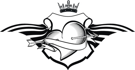 heraldische hart tattoo