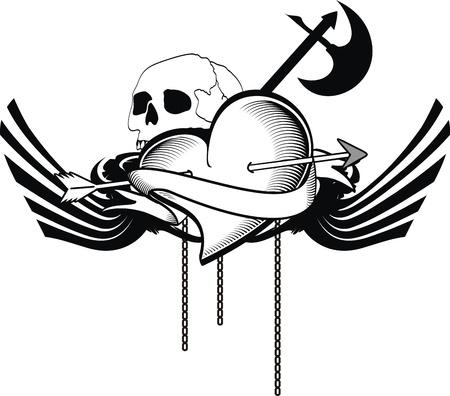 heraldic heart tattoo Vector