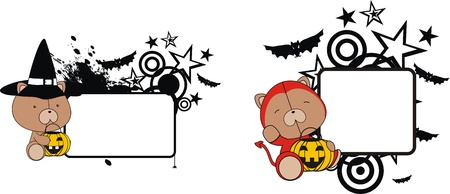 teddy bear halloween copyspace in format very easy to edit Vector
