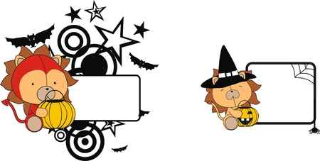 child sitting: lion halloween copyspace in format very easy to edit