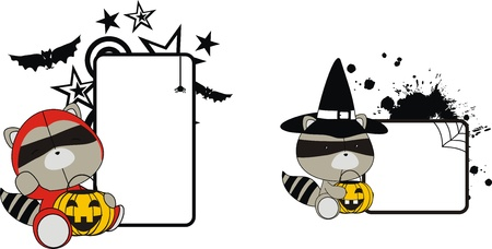 raccoon halloween copyspace in format very easy to edit Vector
