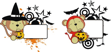 monkey halloween copyspace in format very easy to edit Vector