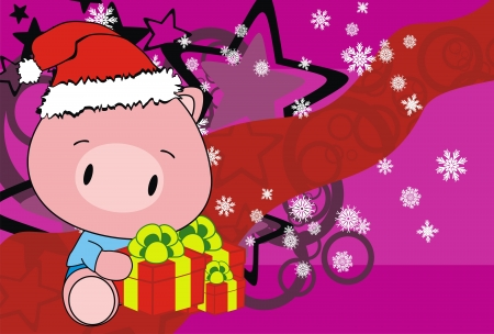 festive: pig baby claus cartoon background in vector format