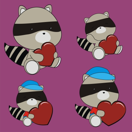 raccoon valentine heart set in vector format Vector