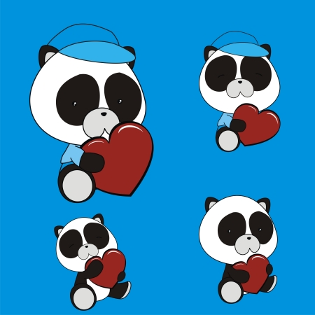 panda bear valentine heart set in vector format Vector