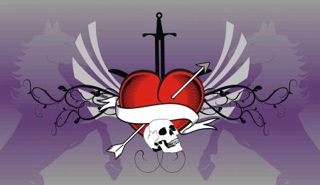 skull heraldic heart background in vector format Vector